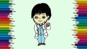 How to draw a cute Doctor step by step - Cartoon Doctor drawing easy