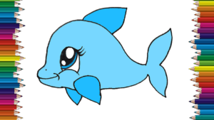 How to draw a cute Dolphin step by step - Baby Dolphin drawing easy
