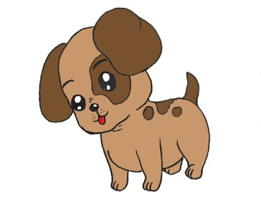 How to draw a cute baby dog step by step - Cartoon dog drawing easy