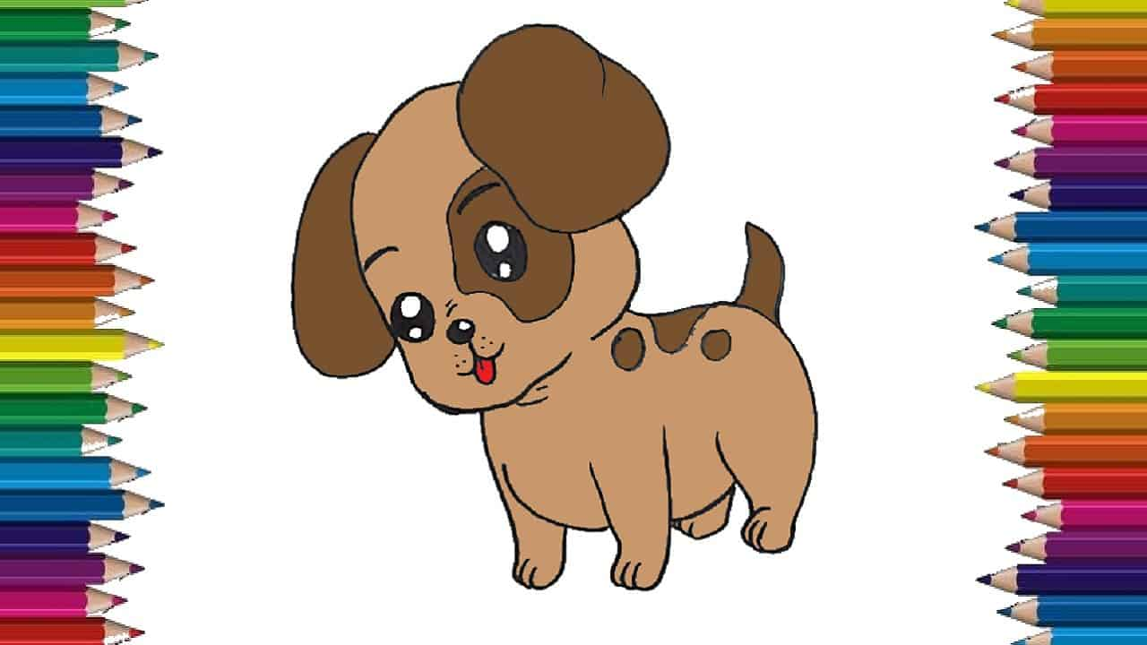 How To Draw A Cute Baby Dog Step By Step Cartoon Dog