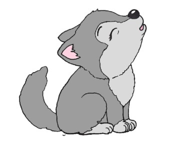 How to draw a wolf pup step by step - Baby wolf drawing easy