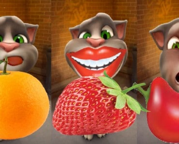My Talking tom cat, how to draw fruits, chilli,watermelon, orange and strawberry, tom cat lovable moment