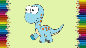 Cartoon dinosaurs drawing and coloring for kids - How to draw a cute dinosaur