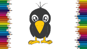 How to draw a cute crow easy for kids - cartoon crow drawing step by step