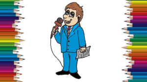 How to draw a reporter cute and easy - Cartoon reporter drawing step by step