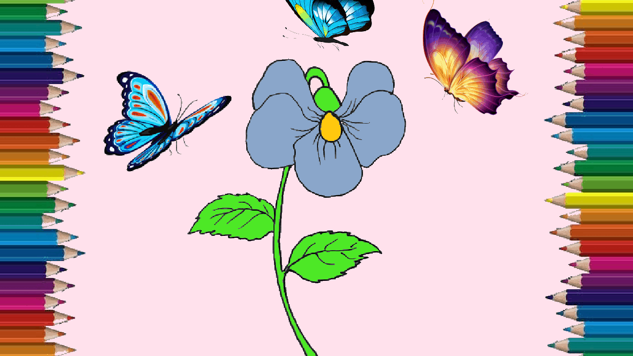How To Draw A Violet Flower Step By Step Violet Flower Drawing And Coloring For Kids