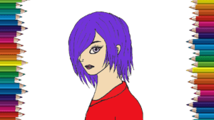 Anime girl drawing and coloring