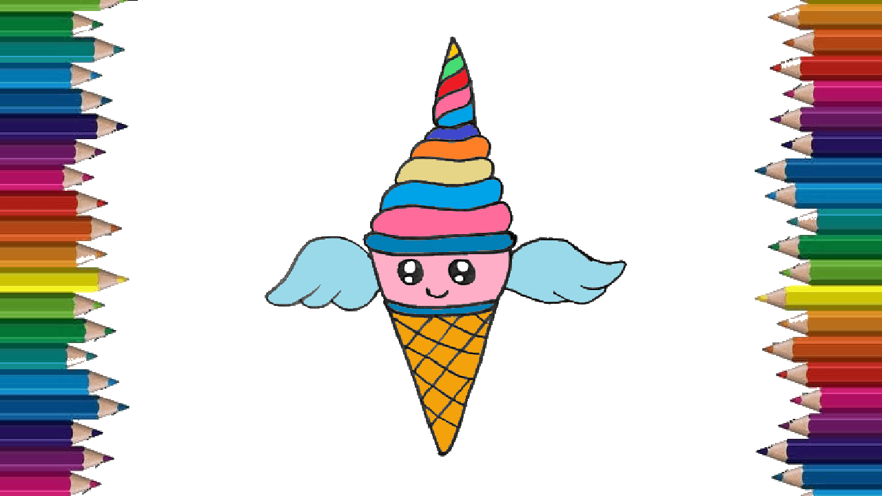 How to draw a unicornio ice cream cute and easy ice cream drawing step by step