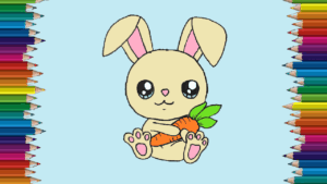 How to draw a bunny cute and easy for kids - Cartoon Rabbit drawing and coloring11
