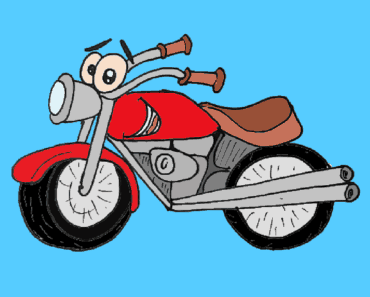 How to draw a cartoon motorbike