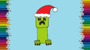 How to draw a creeper from minecraft ( Christmas )