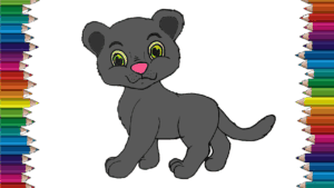 How to draw a cute Panther step by step