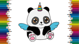 How to draw a cute panda emoji unicorn - panda drawing and coloring for children