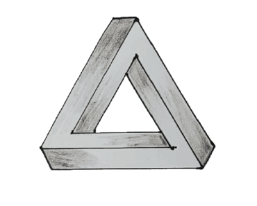 Optical Illusion Triangle 3D drawing - How to Draw an Optical Illusion Triangle