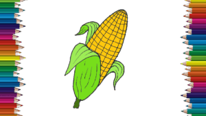 roasted corn drawing and coloring for kids - How to draw a roasted corn easy