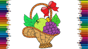 How To Draw Fruit Basket Step By Step Fruits Drawing And