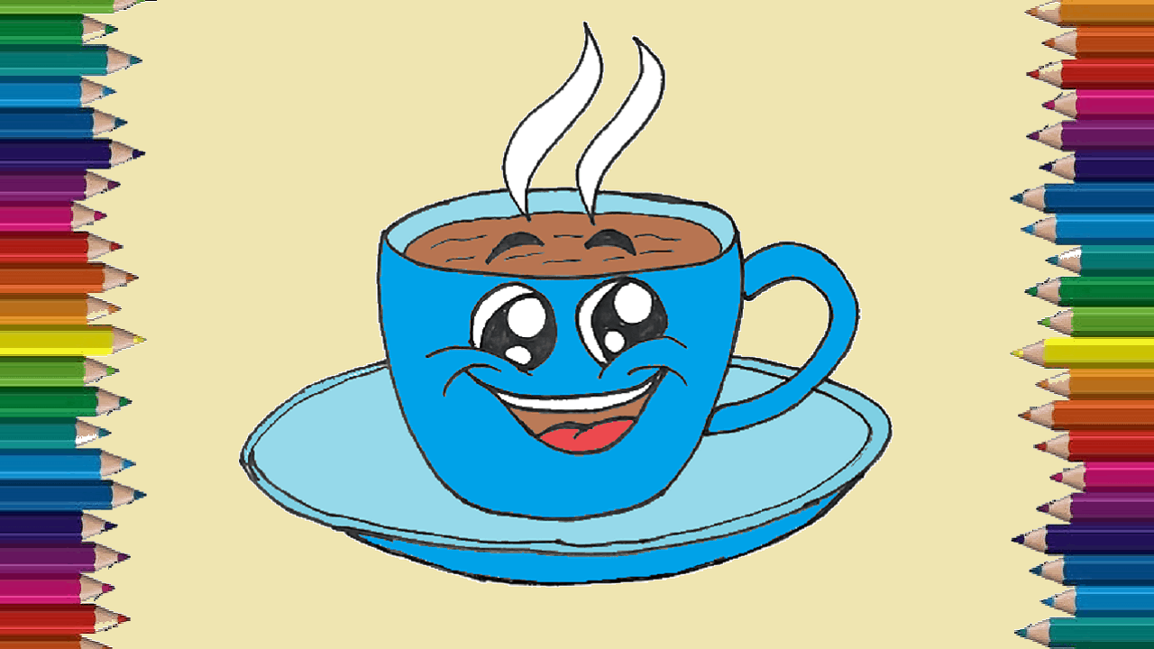 Coffee Cup Drawing Cute And Easy For Kids