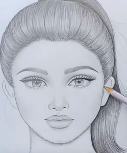 how to draw a girl with ponytail hairstyle  pencil