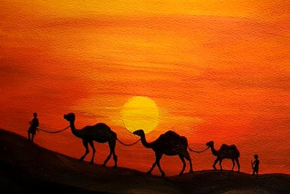 Desert Painting With Camels Easy Landscape Painting For Beginners Acrylic Painting Tutorial Youtu Desert Painting Easy Landscape Paintings Desert Drawing