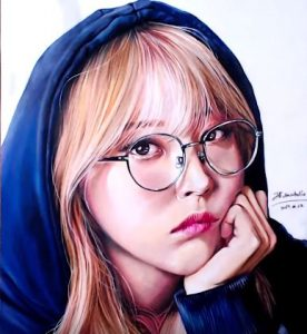 How to draw Moonbyul from the K-pop girl group Mamamoo