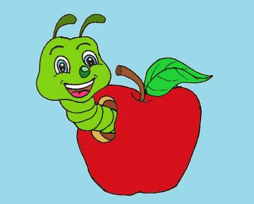 How to draw a cartoon apple and worm cute and easy