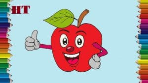 Cartoon apple drawing easy
