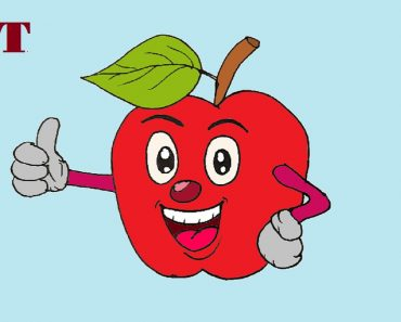 Cartoon apple drawing easy