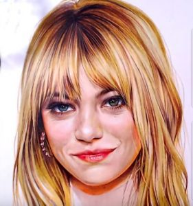 How to draw Emma Stone by pencil
