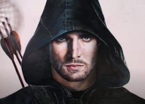How to draw Green Arrow from TV Series Arrow