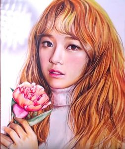 How to draw Kim Se-jeong from the K-pop girl group Gugudan