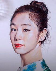 How to draw Kim Yuna by pencil
