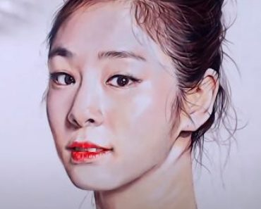 How to draw Kim Yuna by pencil