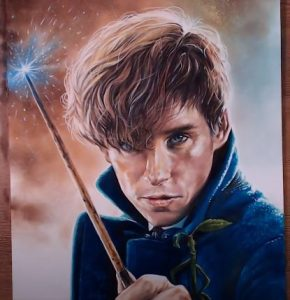 How to draw Newt Scamander from the movie 'Fantastic Beasts and Where to Find Them'.