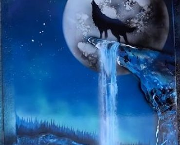 Howling wolf on the Moonlight painting