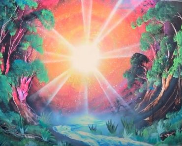 Beautiful sunrise in forrest - SPRAY PAINT ART