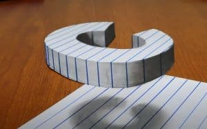 Letter C drawing - 3D Trick Art On Line Paper