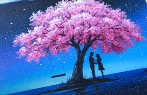 Couple in Love under Cherry Blossom Tree painting by Acrylic