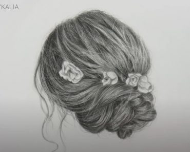 DRAWING A HAIR UPDO WITH FLOWERS WITH PENCIL