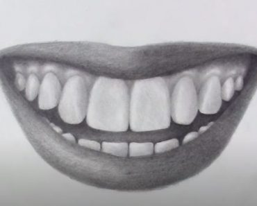 How to draw a mouth with teeth step by step