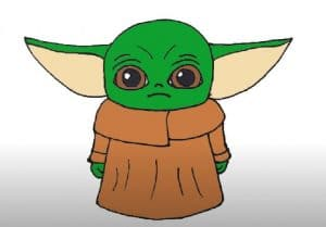 How to draw baby yoda from star wars step by step