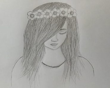 A girl with beautiful hair Pencil Sketch drawing