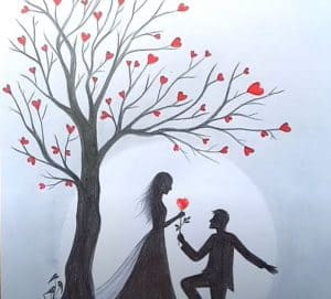 How to draw Romantic couple under love tree - Pencil Sketch
