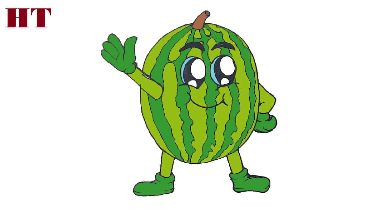 How To Draw A Cartoon Watermelon Cute And Easy