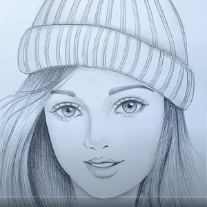 How to draw a girl wearing winter cap for beginners step by step