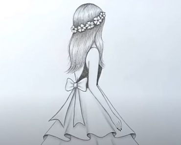 How to draw a girl with beautiful dress