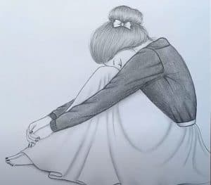 Sad girl Pencil Sketch drawing - How to draw Alone Girl