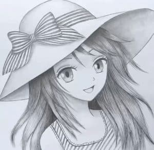 How to draw Anime girl with hat for beginners