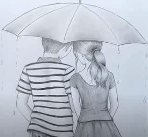 How to draw Boy and Girl With Umbrella