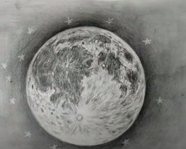 How to draw a Moon with pencil for beginners
