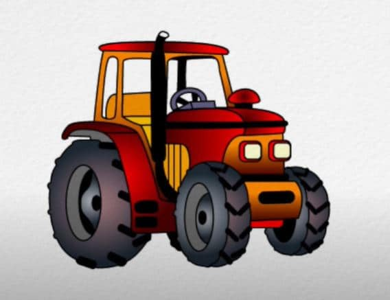 How To Draw A Tractor Step By Step For Beginners